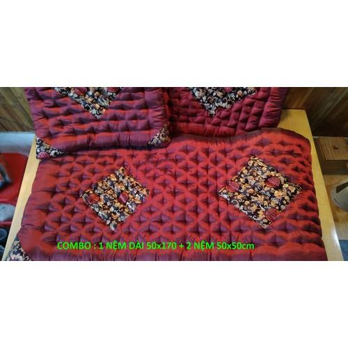 Bộ đệm ghế Sofa, đệm ngồi ghế  Salon gấm lụa 1 dài 2 ngắn