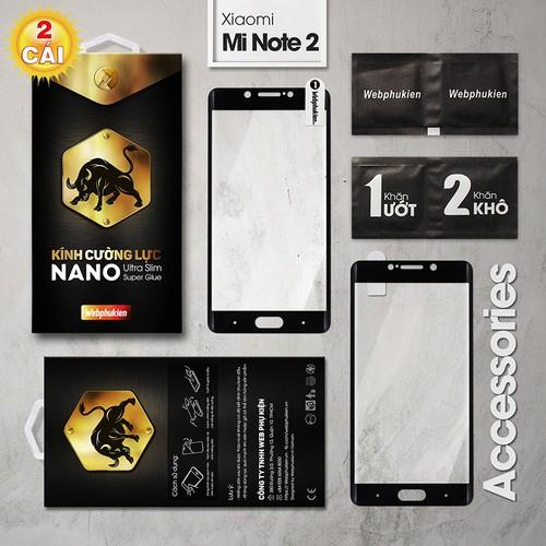 Combo 2 miếng cường lực Xiaomi Mi Note 2 Full Webphukien đen