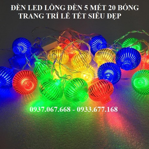 ĐÈN LED LỒNG ĐÈN 5 MÉT 20 BÓNG - ĐÈN LED TRANG TRÍ TẾT - ĐÈN LED TRNAG TRÍ LỄ