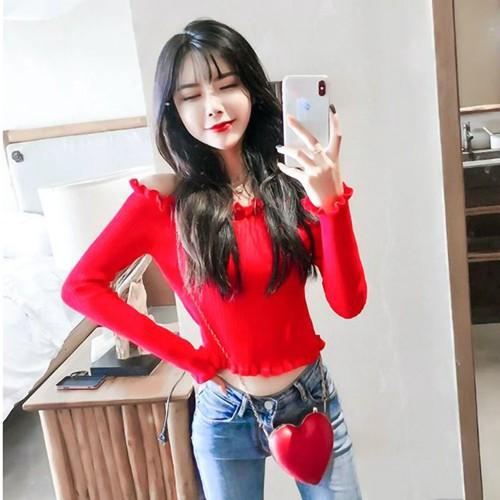 áo len crop top trễ vai Mã: AX3946 - ĐỎ