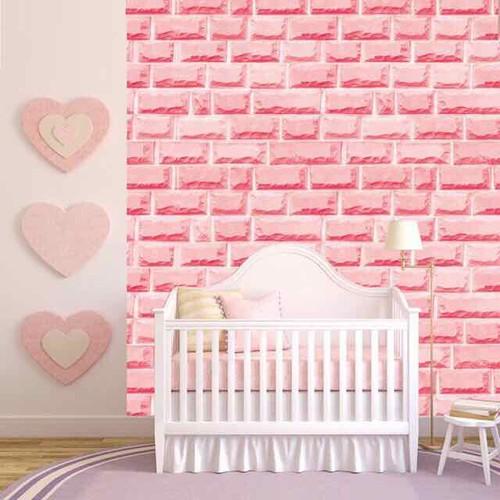 giấy dán tường gạch hồng 3D có sẵn keo khổ 45cm