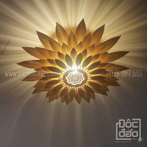 Đèn gỗ thả trần cao cấp hoa hướng dương mẫu D360-TT59