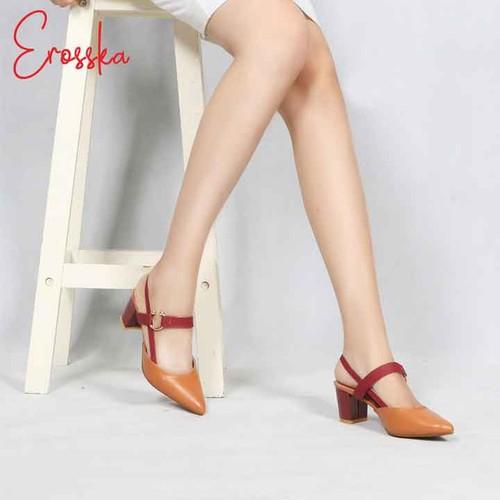 Giày Nữ, Giày Cao Gót Kitten Heels Erosska Đế Vuông Cao 5cm Phối Dây Đỏ EH001 Màu Nâu-Kem