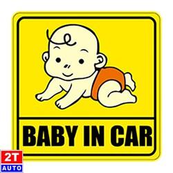 Decal Sticker Baby In Car dán ô tô xe hơi- cảnh báo có trẻ nhỏ trong xe -HÌNH NGẪU NHIÊN