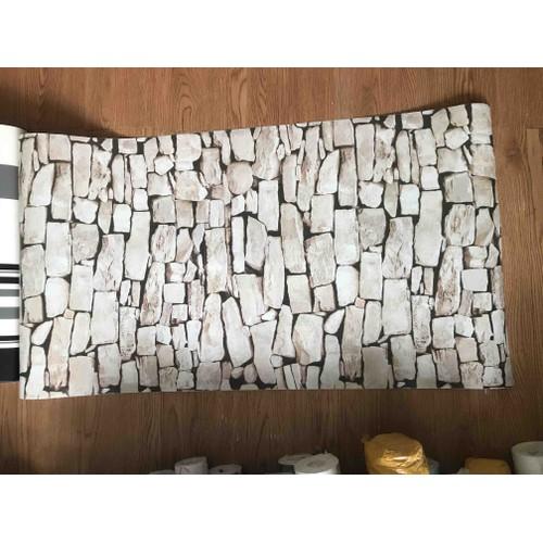giấy dán tường gạch xếp chồng có sẵn keo khổ 45cm