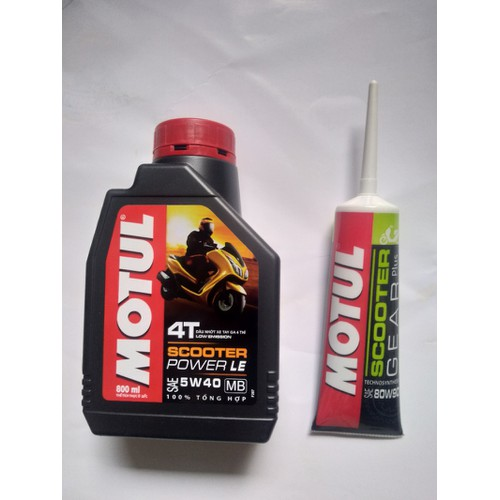 Nhớt Motul Scooter Power LE 5W40 800ml và nhớt lap Motul Scooter Gear