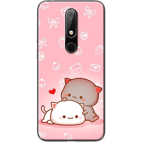 Ốp lưng nhựa dẻo Nokia 6.1 Plus Gấu couple nền hồng