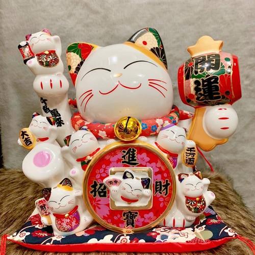Mèo Thần tài cầm Búa Chư Nguyện Phúc Mãn