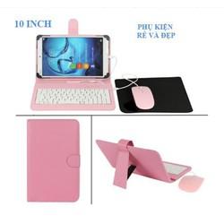 Bao da bàn phím có chuột + lót chuột cho điện thoại, máy tính bảng 10 inch