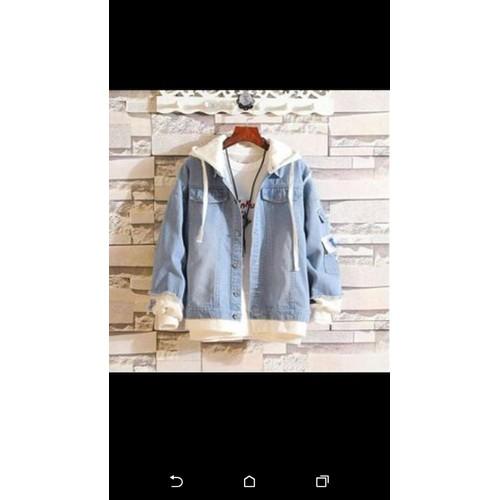 áo khoác jeans nữ phối nỉ