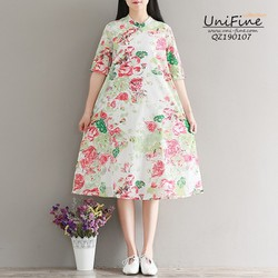 Đầm babydoll cổ tàu cài núi chéo họa tiết hoa lá - QZ190107