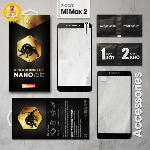 Combo 2 cường lực Xiaomi Mi Max 2 full Webphukien đen