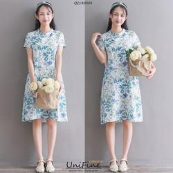 Đầm suông họa tiết hoa lá - QZ180904