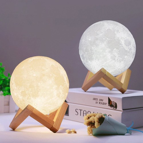 Đèn Ngủ Mặt Trăng 3D Size 10Cm -16 Màu Điều Khiển Từ Xa + Cảm Ứng
