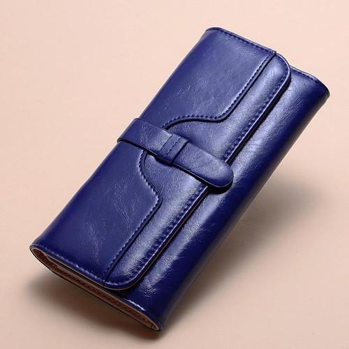 Ví cầm tay nữ dáng dài thiết kế đơn giản, thanh lịch màu xanh