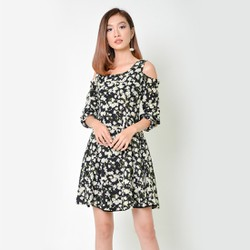 Đầm Xòe Thời Trang Eden Dài Tay In Hoa - D335