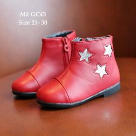 Giày bốt bé gái, giày bốt bé gái khóa kéo, giày bốt bé gái đỏ GC43 - GC43DO