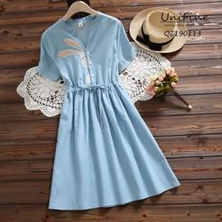 Đầm babydoll nhún eo họa tiết thỏ - QZ190113