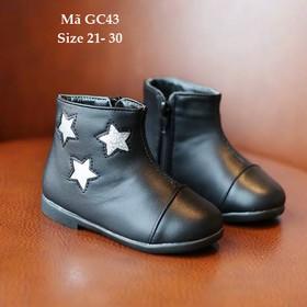 Giày bốt bé gái, giày bốt bé gái khóa kéo, giày bốt bé gái 1 - 5 tuổi GC43 - GC43DEN