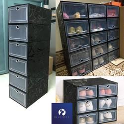 Hộp Đựng Giày Nắp Nhựa Cứng Trong Suốt Full Đen Cá Tính chịu nặng 4kg - Box Sneaker New