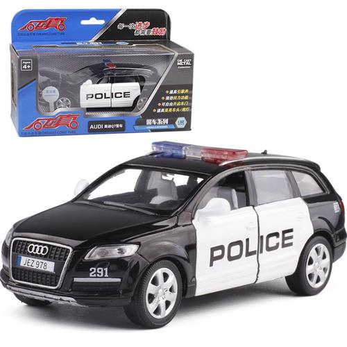 Ô tô cảnh sát mô hình xe Audi Q7 bằng sắt có âm thanh và đèn mở cửa