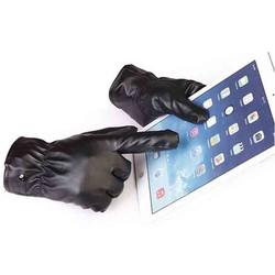 Găng tay da lót lông cảm ứng điện thoại - Nam