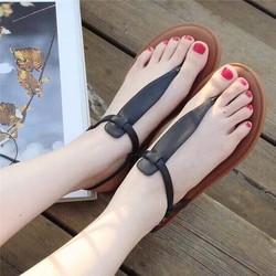 Giày sandal nữ đế bệt hậu thun-2 màu