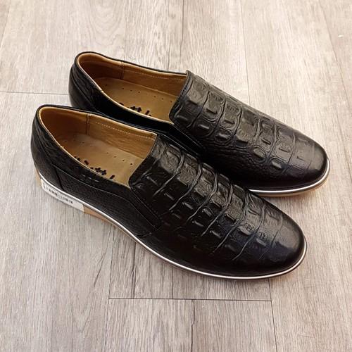Giày Lười da thật vân cá sấu