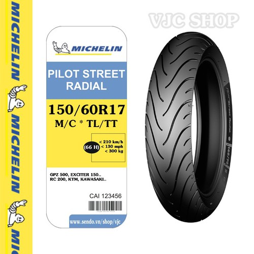 Lốp vỏ xe máy phân khối lớn Michelin Pilot Street Radial 150.60R17 TL.TT 66H