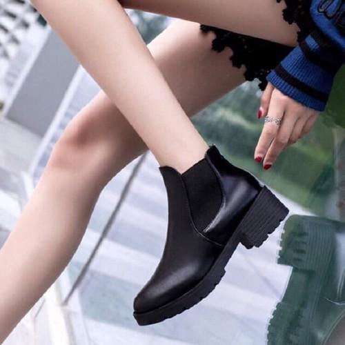 Boot Da Nữ Cổ Chun Trơn Đế 5 Phân Siêu Đẹp BT1