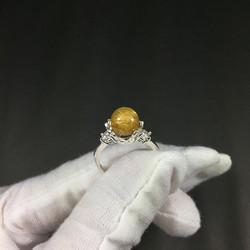 Nhẫn bạc đính đá thạch anh tóc vàng Golden Critrin Quartz tự nhiên Freesize phù hợp cho người mệnh Thổ và Kim