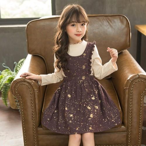 YT2257- Set áo và đầm bé gái thu đông hàng nhập - giá 440k