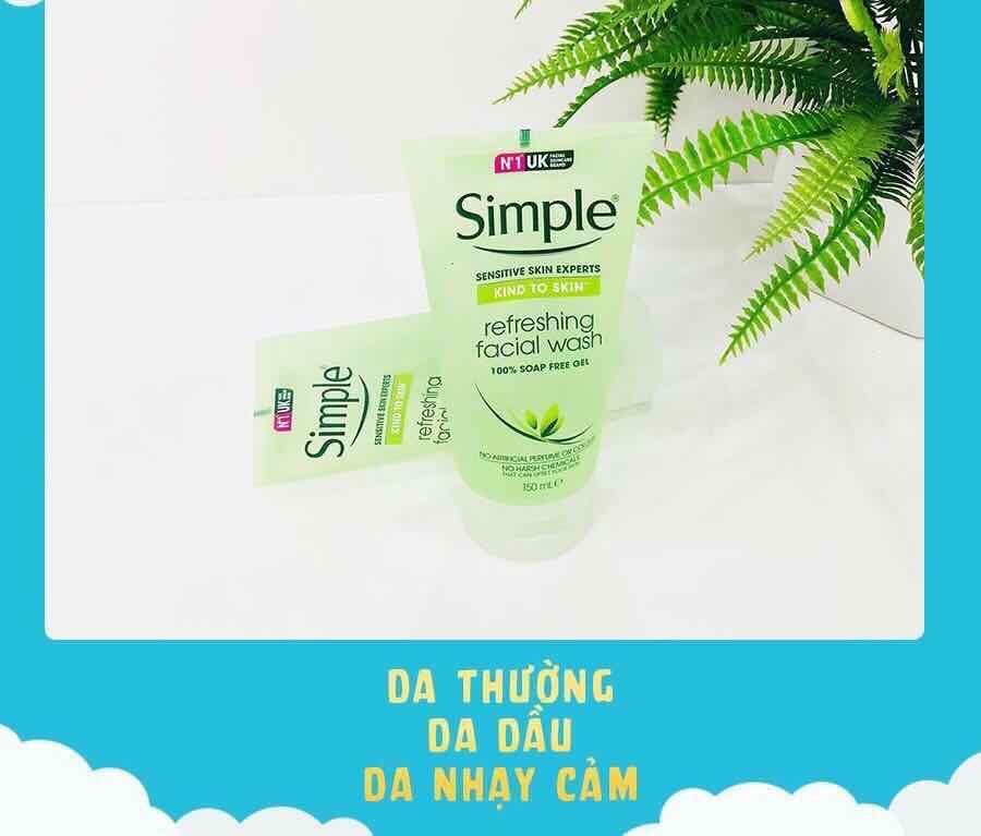 Kết quả hình ảnh cho Simple Kind To Skin Refreshing Facial Wash Gel Dành Cho Da Nhạy Cảm 150ml