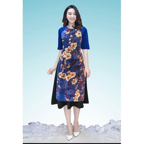 Sét Áo Dài Cách Tân In Hoa + Chân Váy Xòe - GTA476