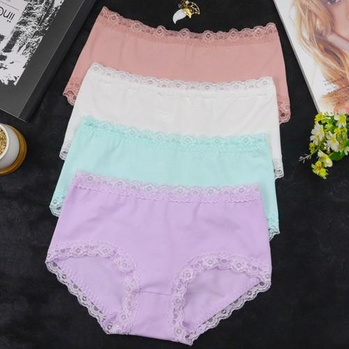 BỘ 10 quần lót nữ cotton 3 viền ren - MẪU 06