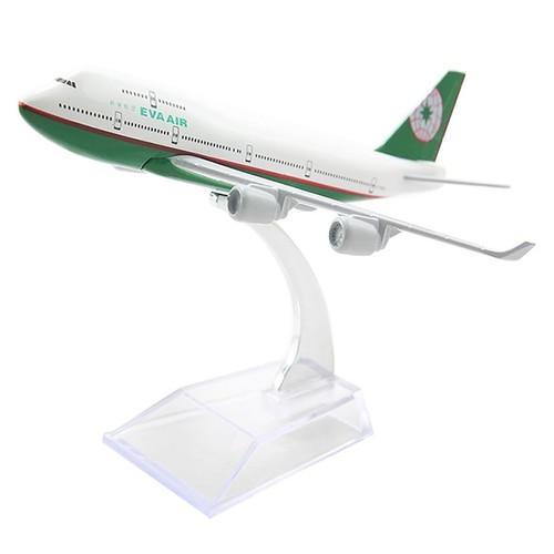 Mô hình máy bay Eva Air 16cm Trắng, Xanh lá cây