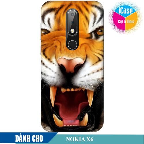 Ốp lưng nhựa dẻo dành cho Nokia X6 in hình Tiger