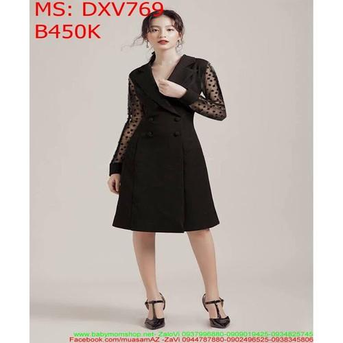 Đầm xòe công sở đen dài tay phối lưới bi thời trang DXV769 - 7265285 , 13948966 , 15_13948966 , 450000 , Dam-xoe-cong-so-den-dai-tay-phoi-luoi-bi-thoi-trang-DXV769-15_13948966 , sendo.vn , Đầm xòe công sở đen dài tay phối lưới bi thời trang DXV769