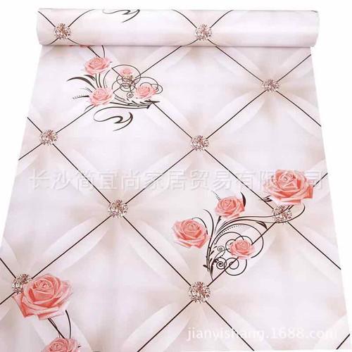 10 m giấy dán tường hoa hồng cam kim cương khổ 45cm keo sẵn