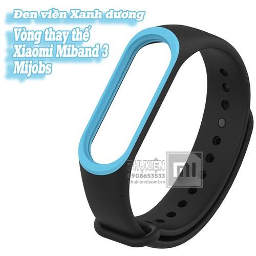 Vòng đeo thay thế XM Miband 3-4 MIjobs viền màu - đen viền xanh dươn