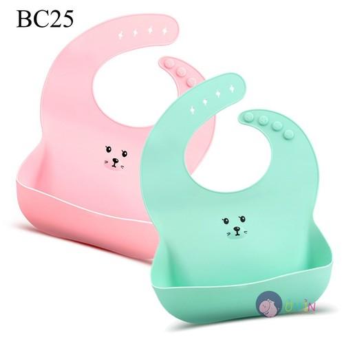 BC25 - Yếm Nhựa Có Máng Hứng Cho Bé Ăn