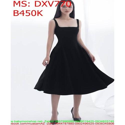 Đầm xòe công sở 2 dây đen chữ U duyên dáng xinh đẹp DXV770