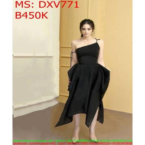 Đầm xòe dự tiệc lệch vai thắt day sành điệu DXV771