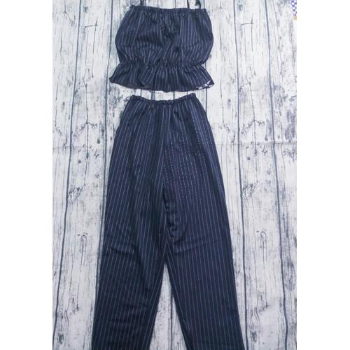 Set quần dài sọc đen