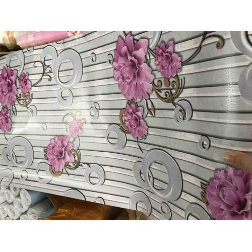10m giấy dán tường hoa dậm bụt kết hợp vòng tròn 3D - khổ 45cm- keo sẵn