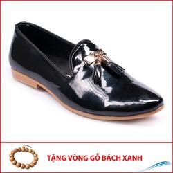 Giày Công Sở Nam Giày Lười Nam Đẹp Đế Khâu Chuông Vàng Da Bóng Màu Đen Phong Cách Hàn Quốc - M124-BONG-GB