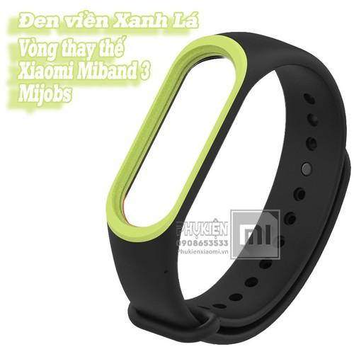 Vòng đeo thay thế XM Miband 3-4 MIjobs viền màu - đen viền xanh lá