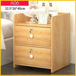 Tủ đầu giường gỗ 2 ngăn kéo có khóa - Kệ đầu giường - Tap đầu giường