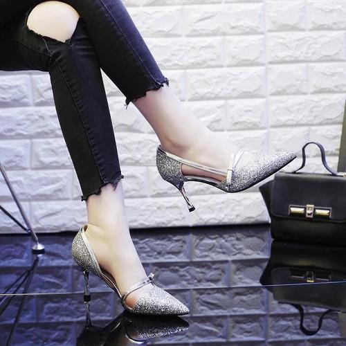 Giày cao gót nữ kim tuyến phối nơ thời trang - GN01