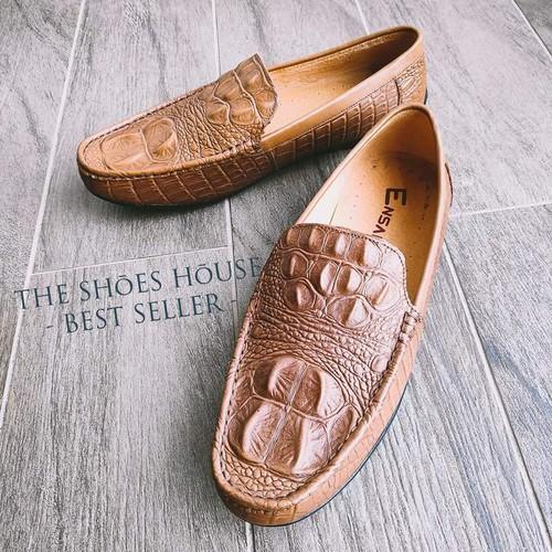 Giày Lười Nam Da Bò Thật Vân Cá Sấu Siêu Mềm The Shoes House K11DST